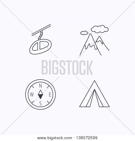 Mountain and teleferic icons. Compass linear sign. Flat linear icons on white background. Vector