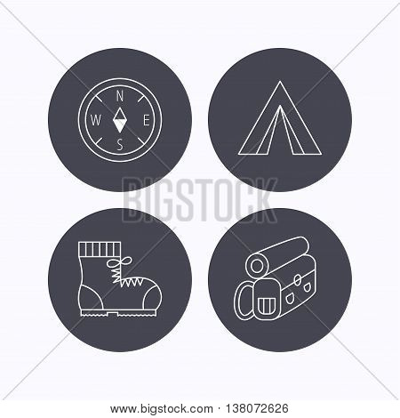 Backpack, camping tend and hiking boots icons. Compass linear sign. Flat icons in circle buttons on white background. Vector