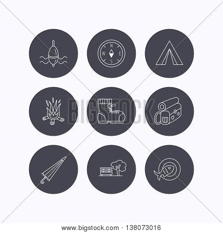 Park, fishing float and hiking boots icons. Compass, umbrella and bonfire linear signs. Camping tent, fish dish and tree icons. Flat icons in circle buttons on white background. Vector