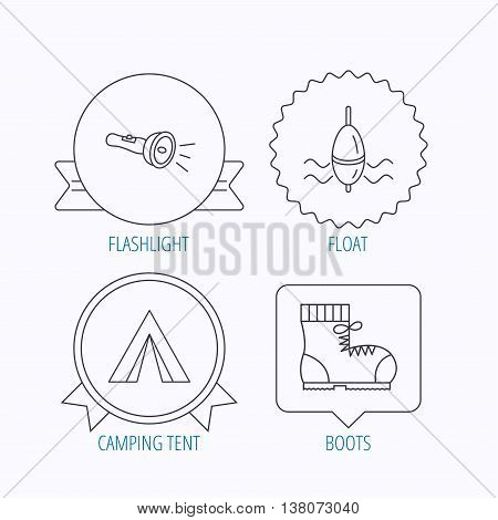 Flashlight, fishing float and hiking boots. Camping tent linear sign. Award medal, star label and speech bubble designs. Vector