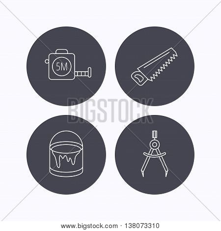 Tape measure, saw and bucket of paint icons. Measurement linear sign. Flat icons in circle buttons on white background. Vector