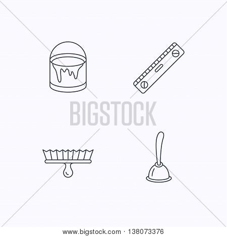 Level tool, plunger and brush tool icons. Bucket of paint linear sign. Flat linear icons on white background. Vector
