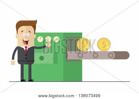 Happy businessman prints wads of money on the con . Isolated illustration white background . Flat picture