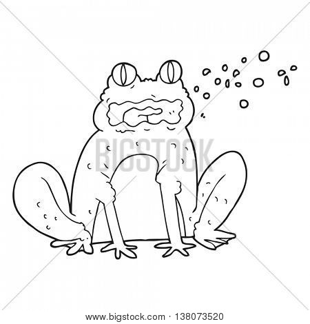freehand drawn black and white cartoon burping frog