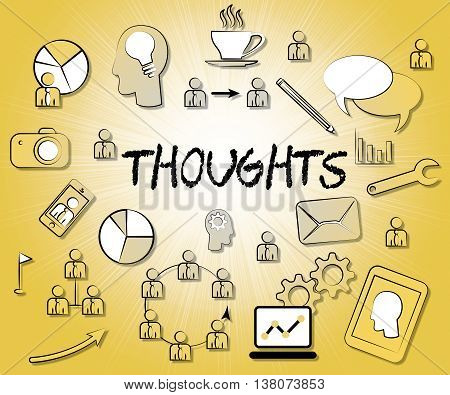 Thoughts Icons Represents Idea Reflection And Sign