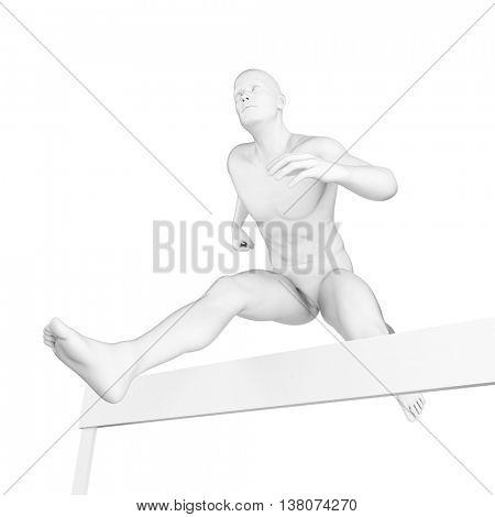 3d rendered illustration of a hurdler