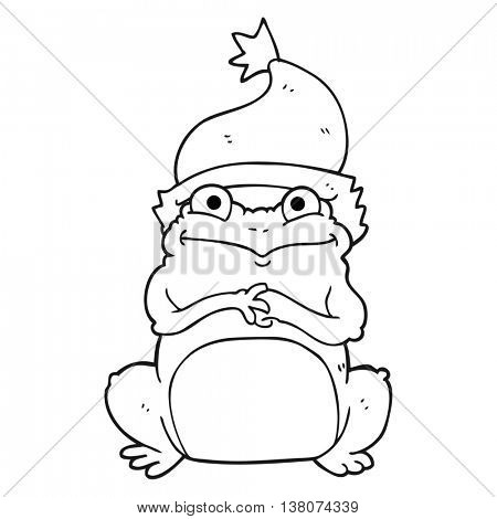 freehand drawn black and white cartoon frog wearing christmas hat