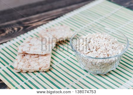Plate with Oat Flakes, Healthy Eating Concept