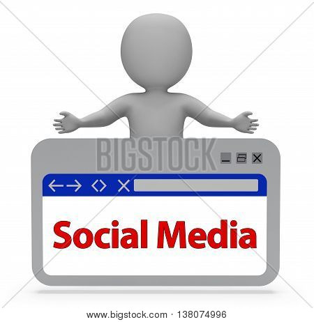 Social Media Webpage Indicates News Feed And Online 3D Rendering