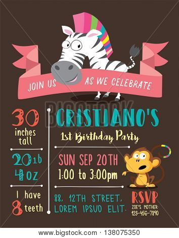 Cute Animals & Birthday Party Invitation Card Template