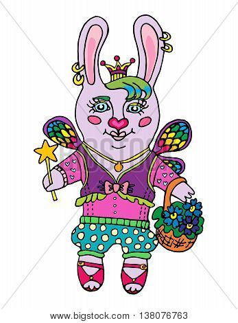 Little cute rabbit girl fairy color pink in the princess crown with basket of flowers and magic wand cartoon character on isolated white background print pattern vector illustration