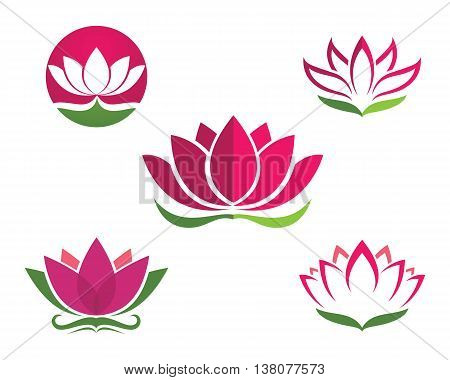 Vector lotus flowers design logo Template,  for spa, yoga class, hotel and resort