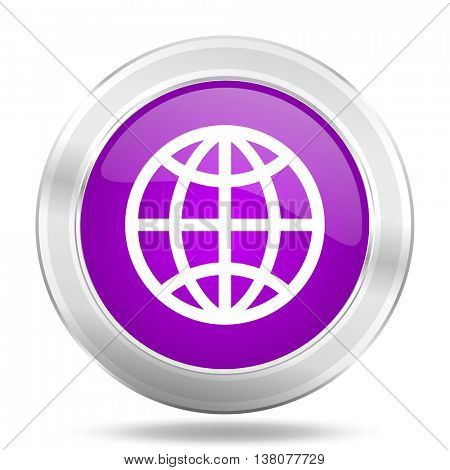 earth round glossy pink silver metallic icon, modern design web element
