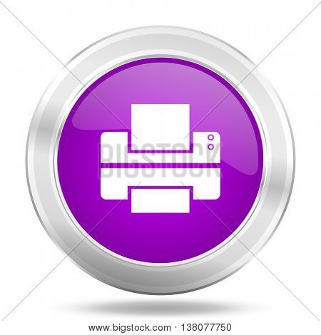 printer round glossy pink silver metallic icon, modern design web element