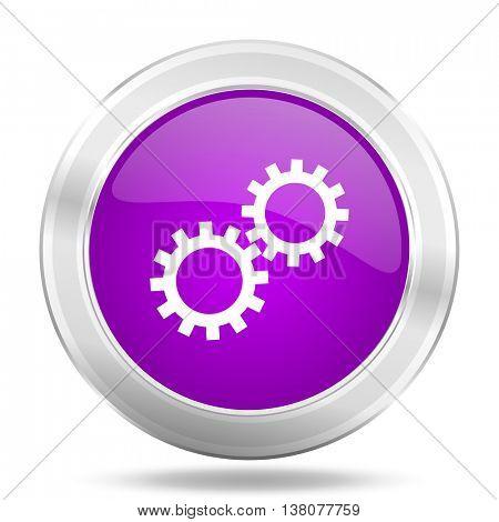 gear round glossy pink silver metallic icon, modern design web element