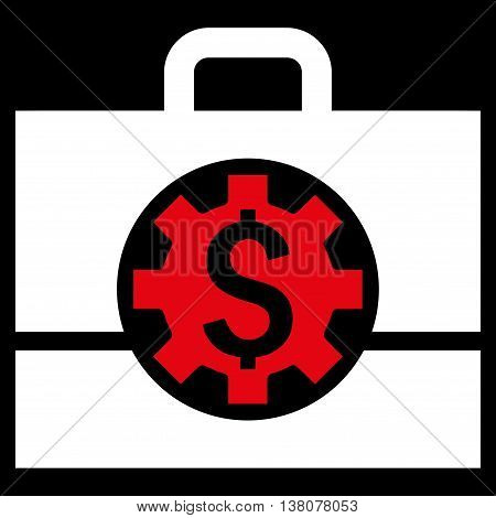 Bank Career Options vector icon. Style is bicolor flat symbol, red and white colors, black background.