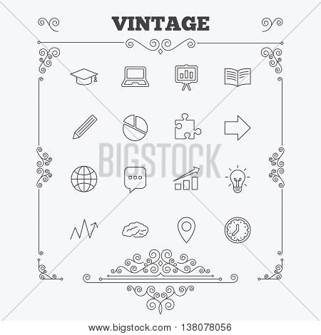 Education icons. Graduation cap, pencil and book symbols. Notebook, presentation and speech bubble thin outline signs. Pie chart, piece of puzzle and arrow. Vintage ornament patterns. Decoration design elements. Vector