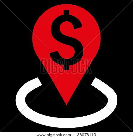 Bank Location vector icon. Style is bicolor flat symbol, red and white colors, black background.