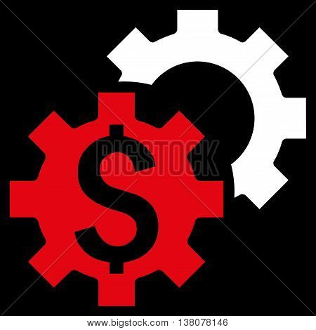 Bank Settings vector icon. Style is bicolor flat symbol, red and white colors, black background.