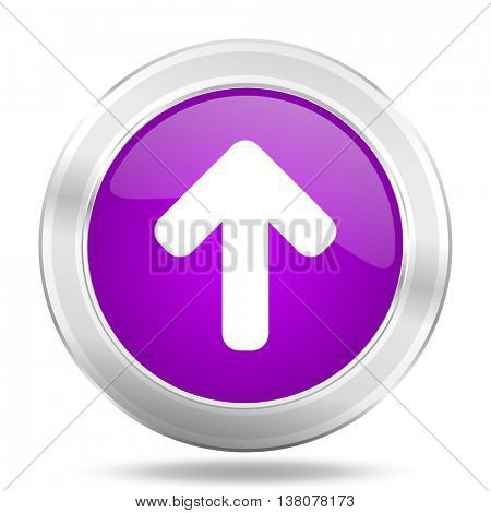 up arrow round glossy pink silver metallic icon, modern design web element