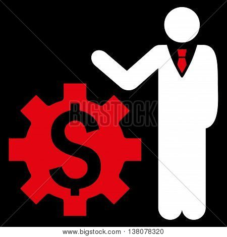 Businessman Options vector icon. Style is bicolor flat symbol, red and white colors, black background.