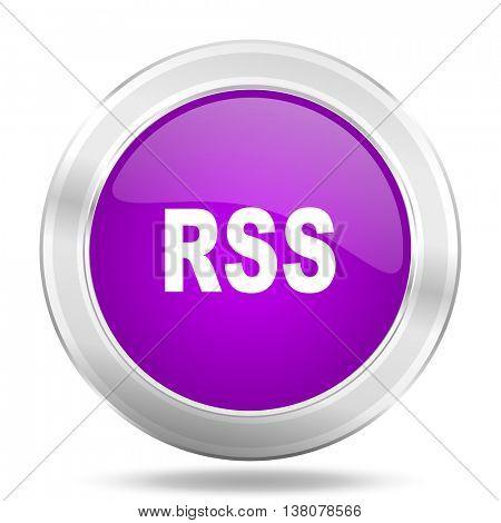 rss round glossy pink silver metallic icon, modern design web element