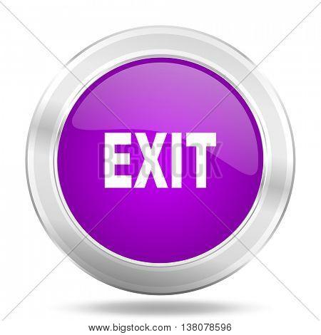 exit round glossy pink silver metallic icon, modern design web element