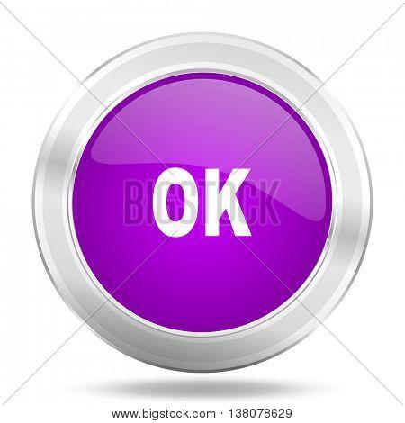 ok round glossy pink silver metallic icon, modern design web element