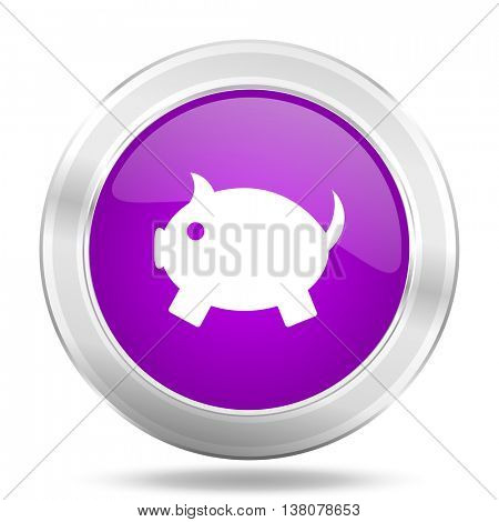 piggy bank round glossy pink silver metallic icon, modern design web element