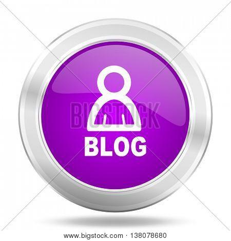 blog round glossy pink silver metallic icon, modern design web element