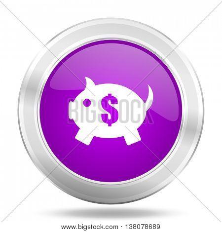 piggy bank round glossy pink silver metallic icon, modern design web element