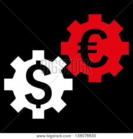 Financial Mechanics vector icon. Style is bicolor flat symbol, red and white colors, black background.