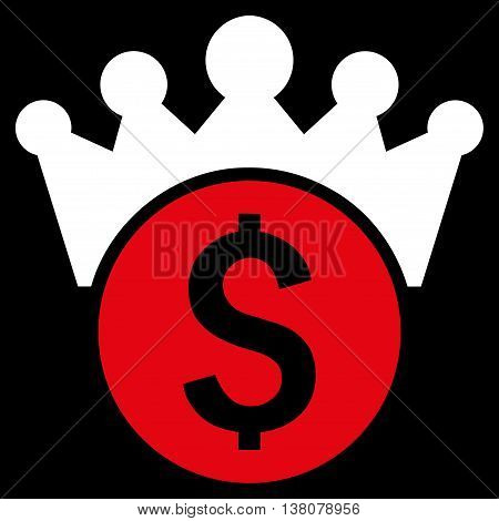 Financial Power vector icon. Style is bicolor flat symbol, red and white colors, black background.