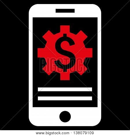 Mobile Bank Options vector icon. Style is bicolor flat symbol, red and white colors, black background.
