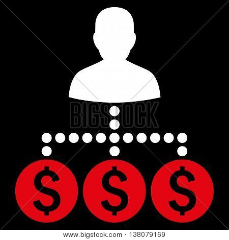 Money Collector vector icon. Style is bicolor flat symbol, red and white colors, black background.