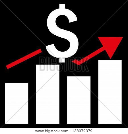 Sales Bar Chart vector icon. Style is bicolor flat symbol, red and white colors, black background.