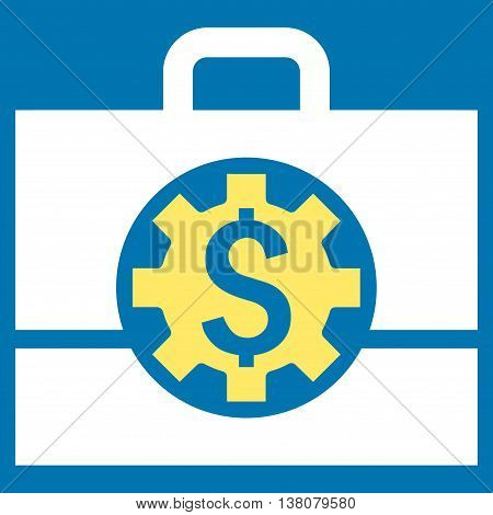 Bank Career Options vector icon. Style is bicolor flat symbol, yellow and white colors, blue background.