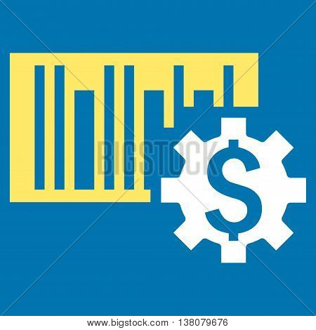 Barcode Price Setup vector icon. Style is bicolor flat symbol, yellow and white colors, blue background.