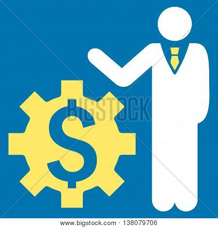 Businessman Options vector icon. Style is bicolor flat symbol, yellow and white colors, blue background.
