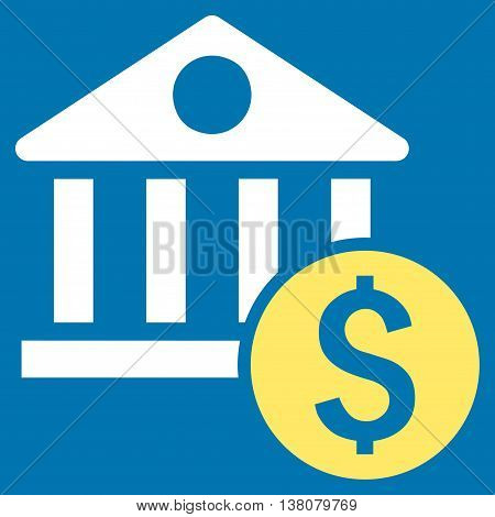 Dollar Bank vector icon. Style is bicolor flat symbol, yellow and white colors, blue background.