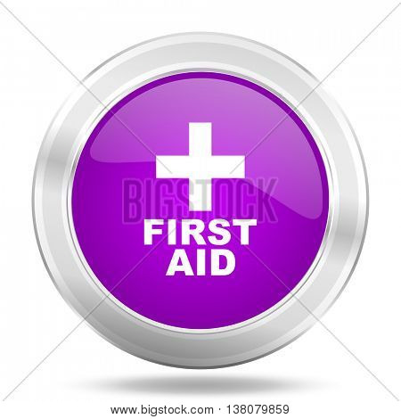 first aid round glossy pink silver metallic icon, modern design web element