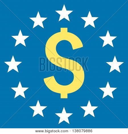 Dollar Stars vector icon. Style is bicolor flat symbol, yellow and white colors, blue background.