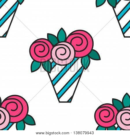 Bouquet of roses. Seamless pattern with flowers on white background. vector illustration