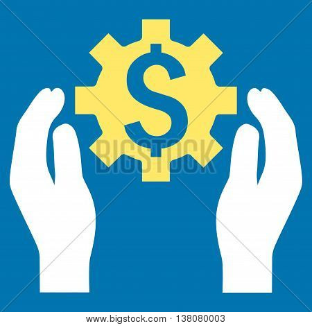 Financial Insurance Options vector icon. Style is bicolor flat symbol, yellow and white colors, blue background.