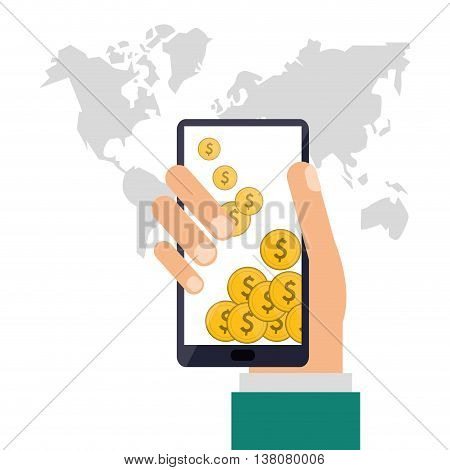 Shopping online concept represented by smartphone and coins icon. Colorfull and flat illustration.