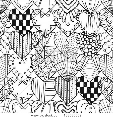Seamless black and white pattern with decorative hearts for coloring book. Vector illustration