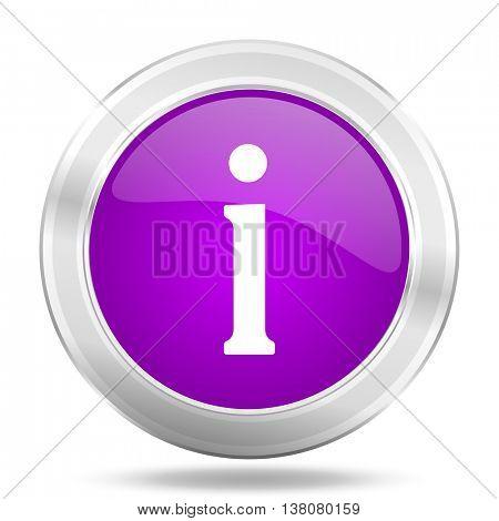 information round glossy pink silver metallic icon, modern design web element