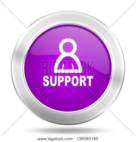 support round glossy pink silver metallic icon, modern design web element