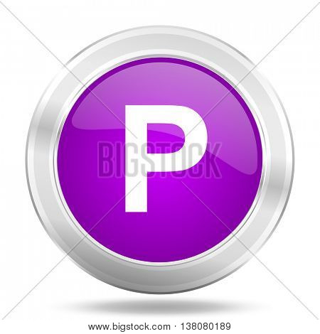 parking round glossy pink silver metallic icon, modern design web element