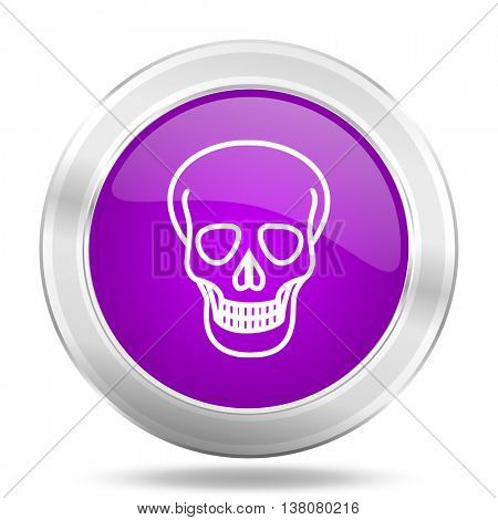 skull round glossy pink silver metallic icon, modern design web element